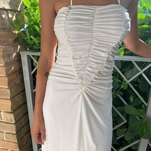 White ruched summer dress